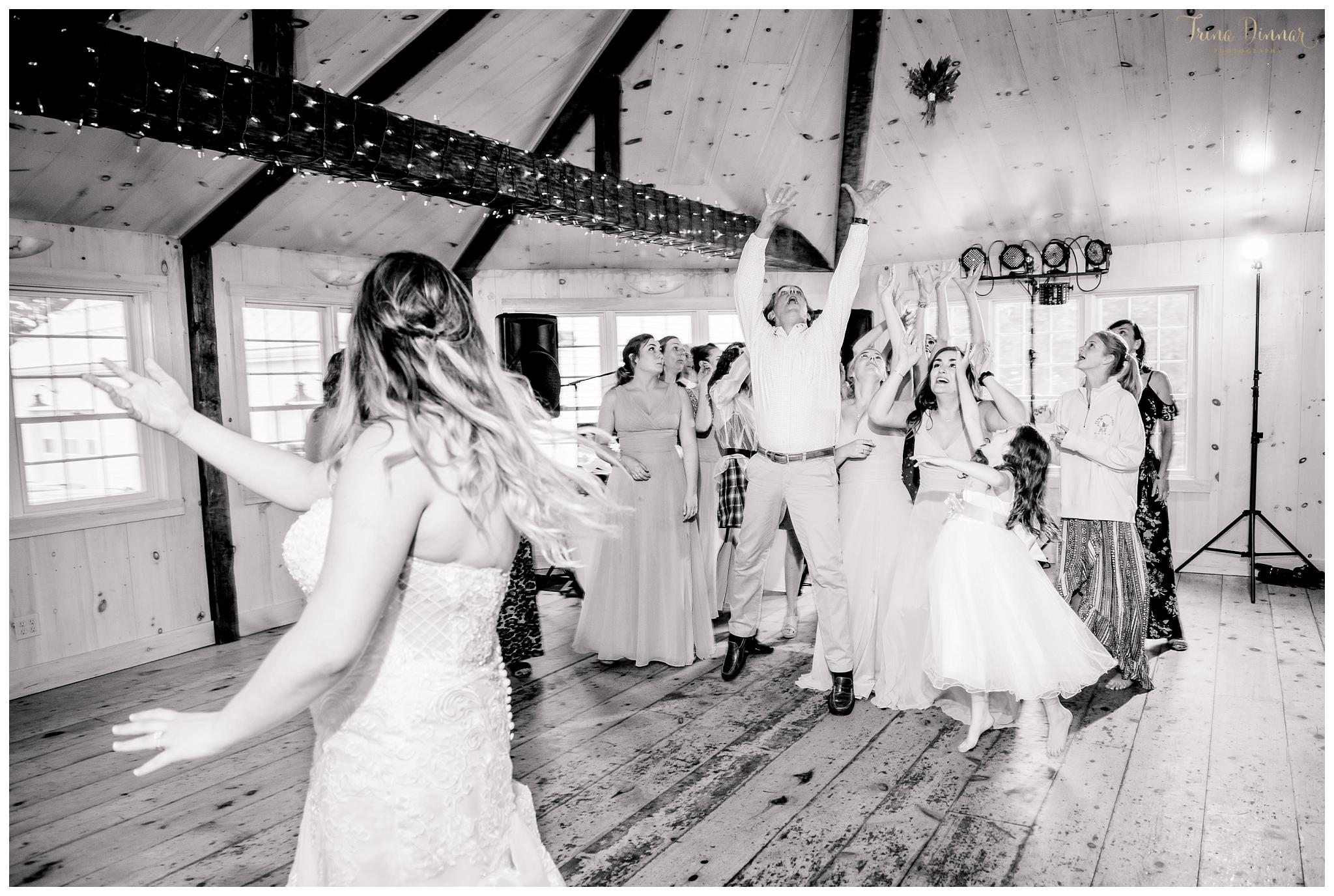 Bouquet Toss during wedding reception