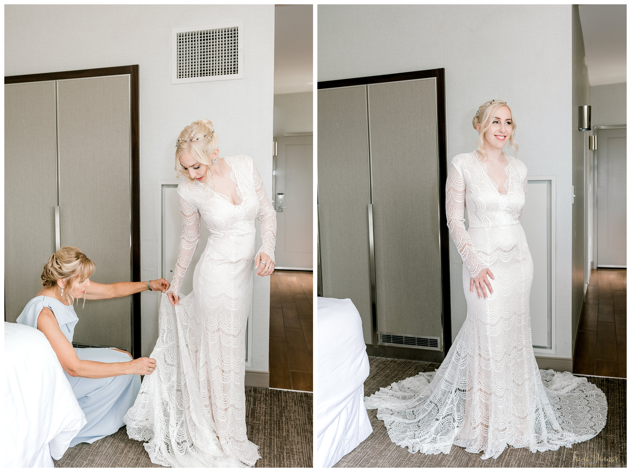 Bride Getting Ready at The Westin Harborview Hotel in Portland, Maine