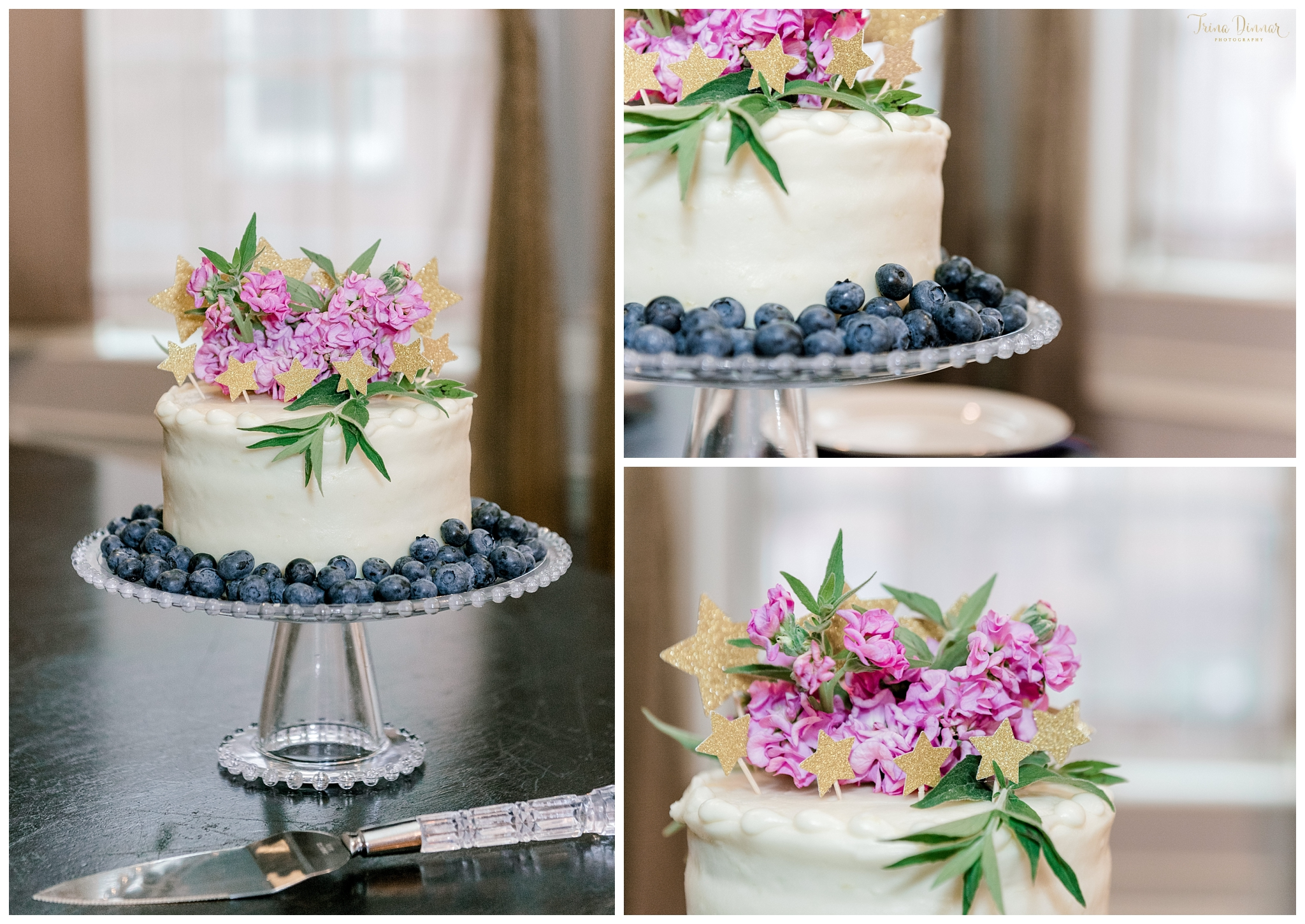 Small Blueberry Wedding Cake with Flower and Star Accents