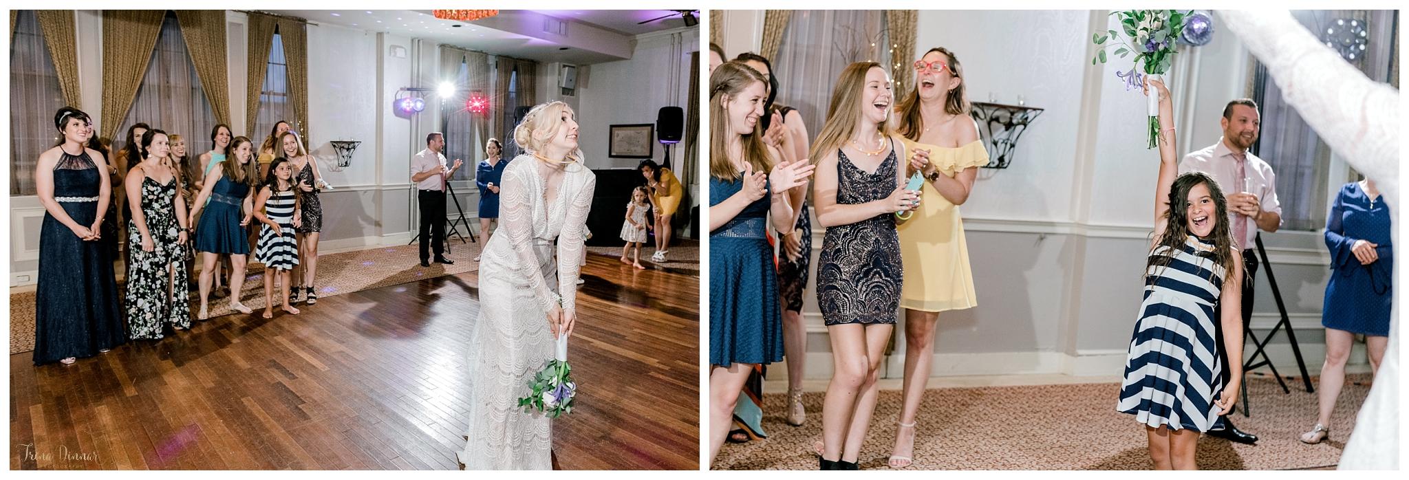 Bouquet Toss at Wedding Reception