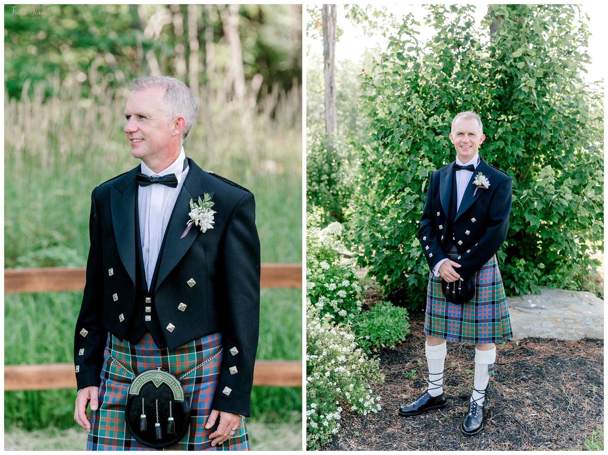 Scottish Groom Wedding Portraits in Maine