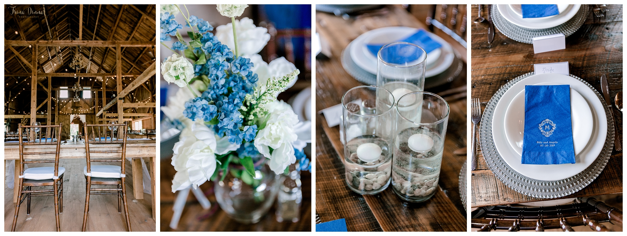 Blue Accent Rustic Barn Wedding Table Decor