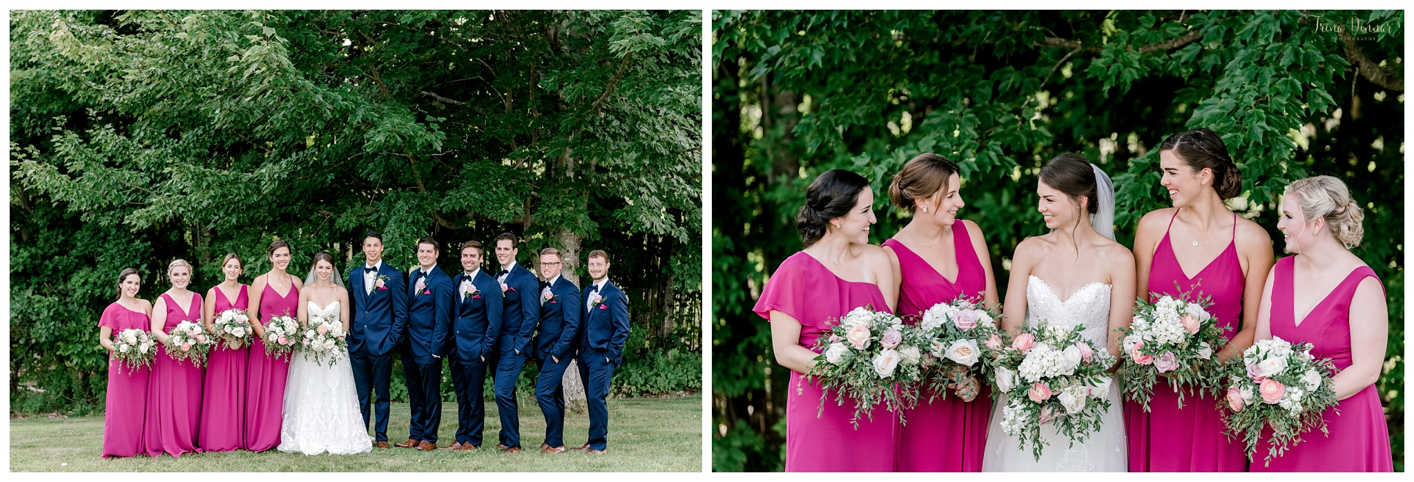 Fuchsia and Navy Themed Wedding Party Attire