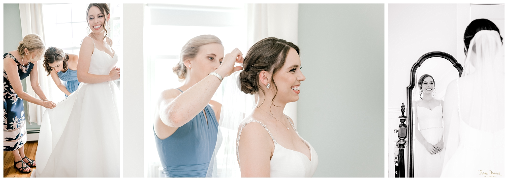 Megan preparing for her York Maine wedding at Harbor Cliffs Inn.