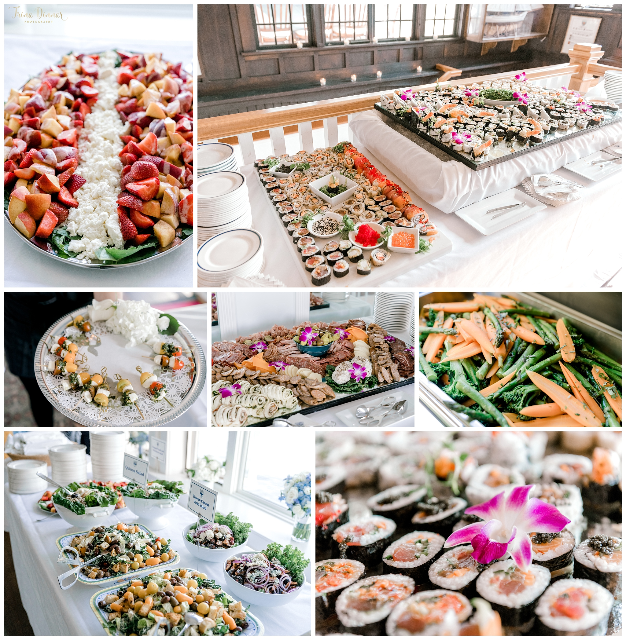 Sushi Appetizers at Maine Reading Room Wedding