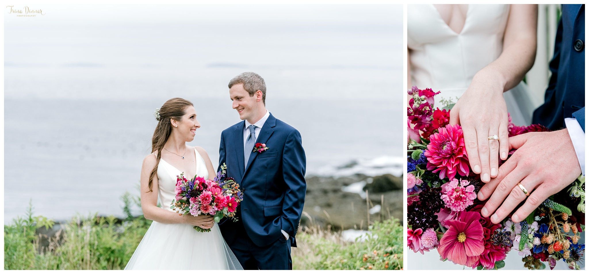 Coastal Maine Bride and Groom Wedding Pictures