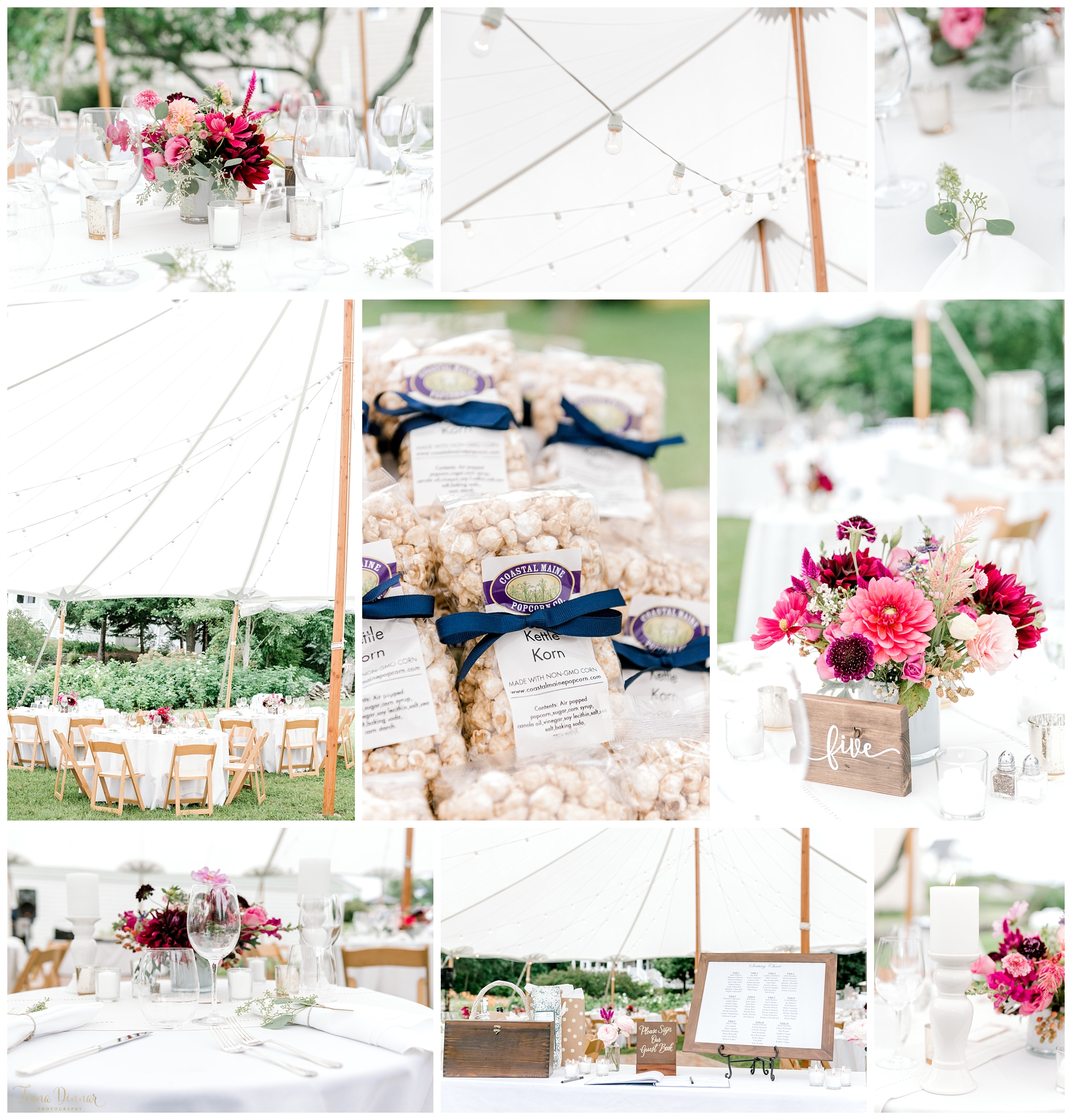 Gorgeous Tented Maine Wedding Floral Decor