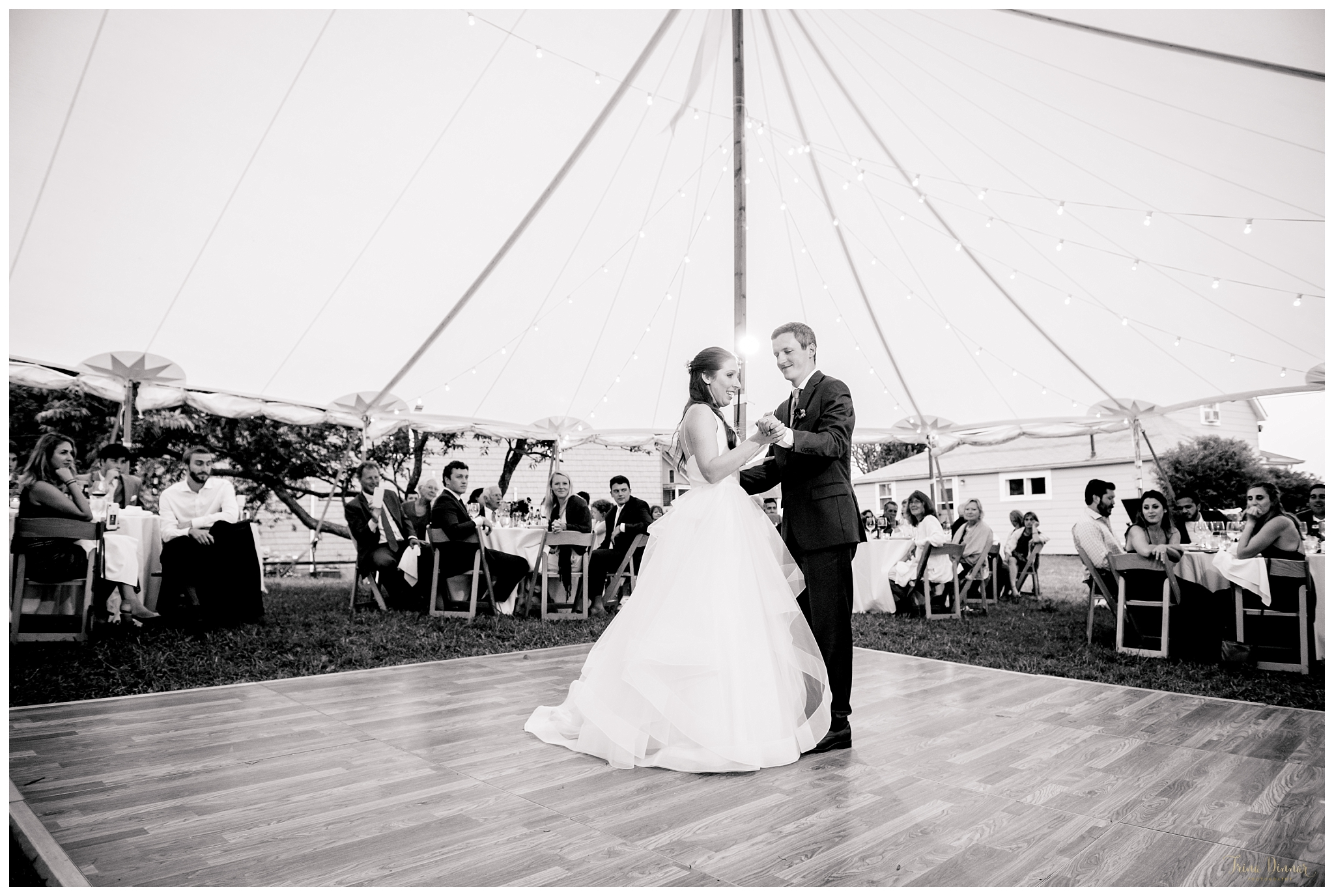 Hannah and Michael's Tented Maine Wedding Reception First Dance
