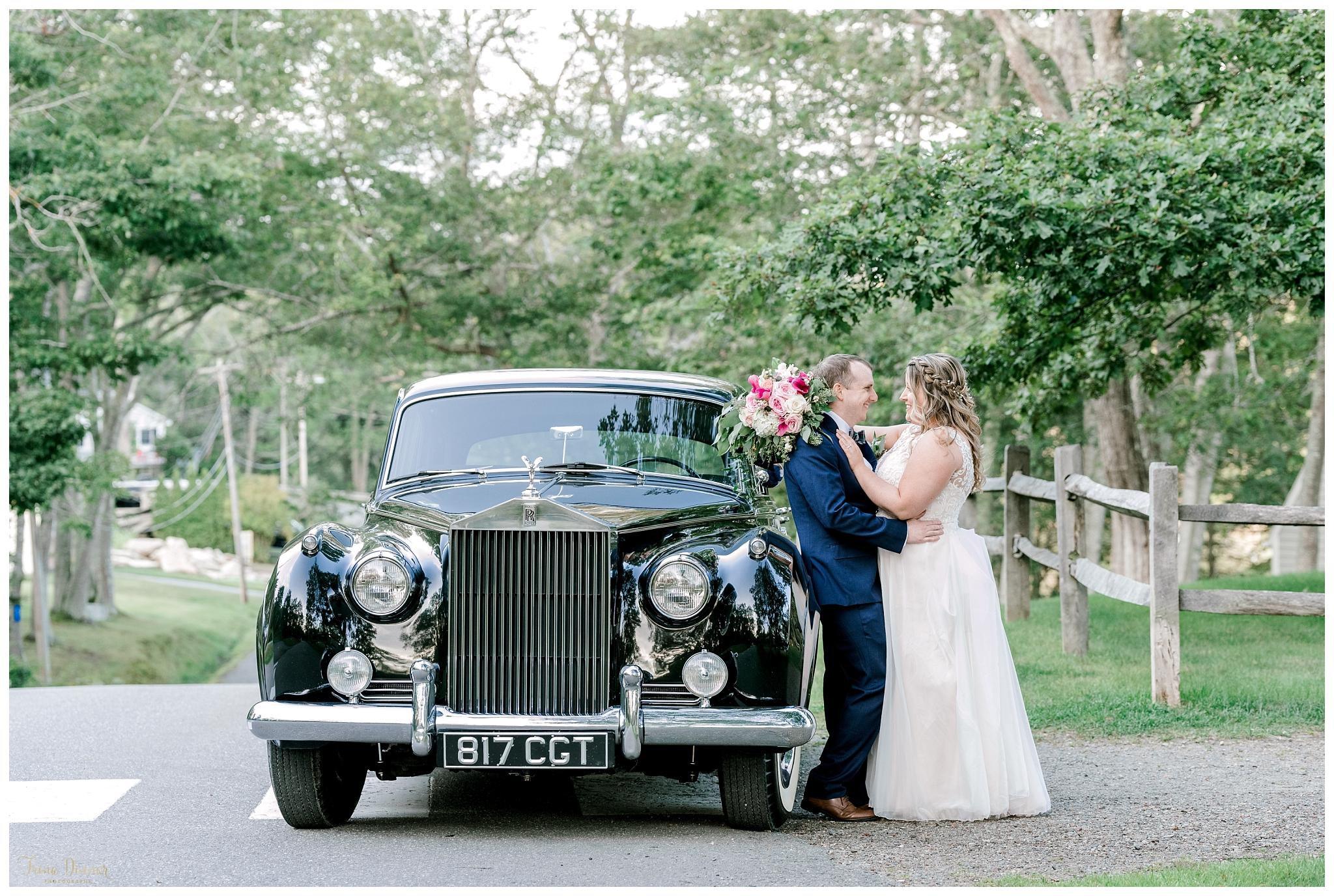 Antique Car Wedding Photo at Boothbay Railway Village