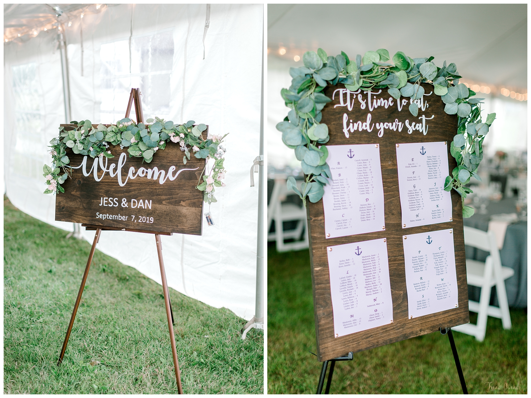 Rustic Maine Wedding Signage