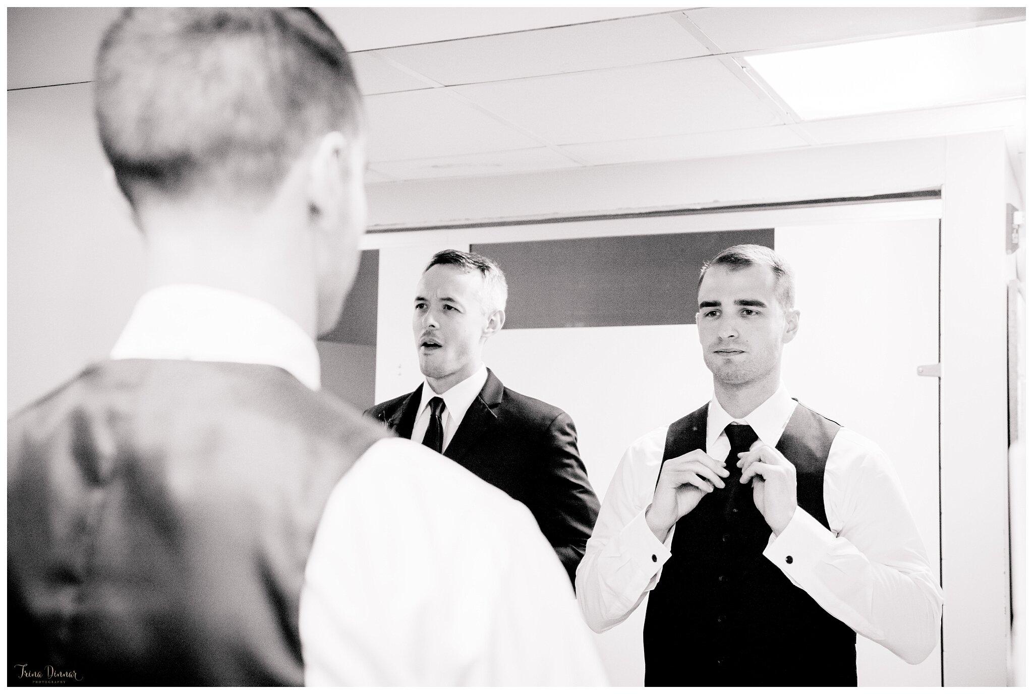 Shawn getting ready for wedding