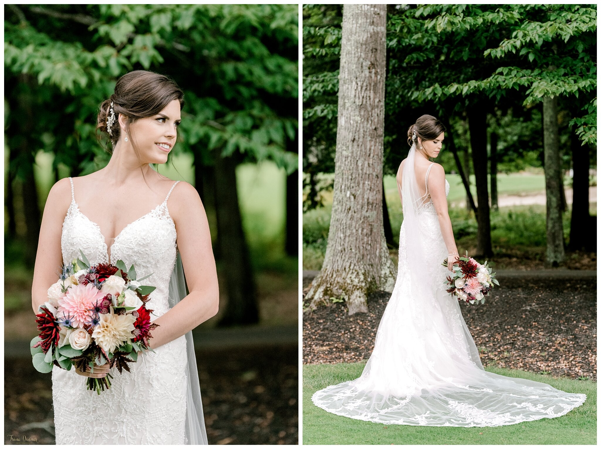 Maine Bridal Portraits at the Falmouth Country Club.