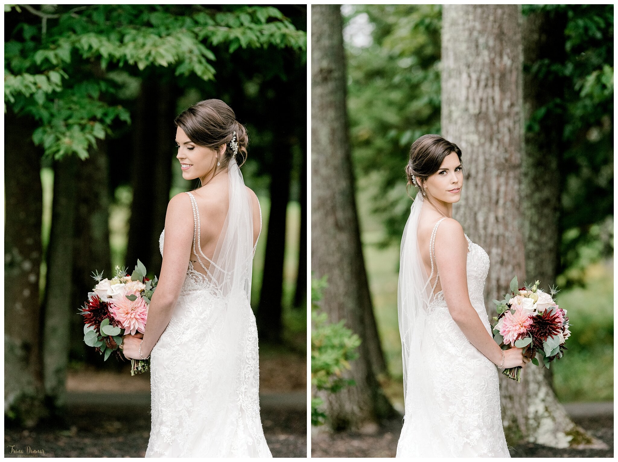 Bride's Wedding Day Portraits in Falmouth, Maine.