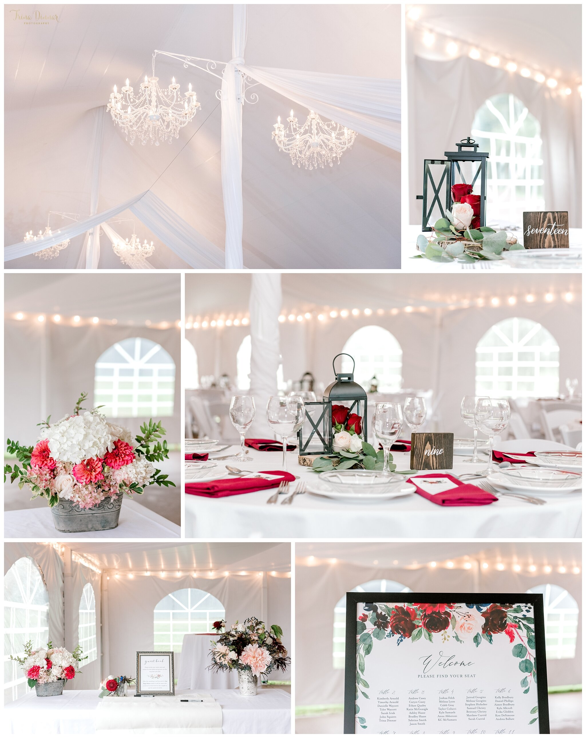 Maine Wedding Reception Decor Photography at the Falmouth Country Club.