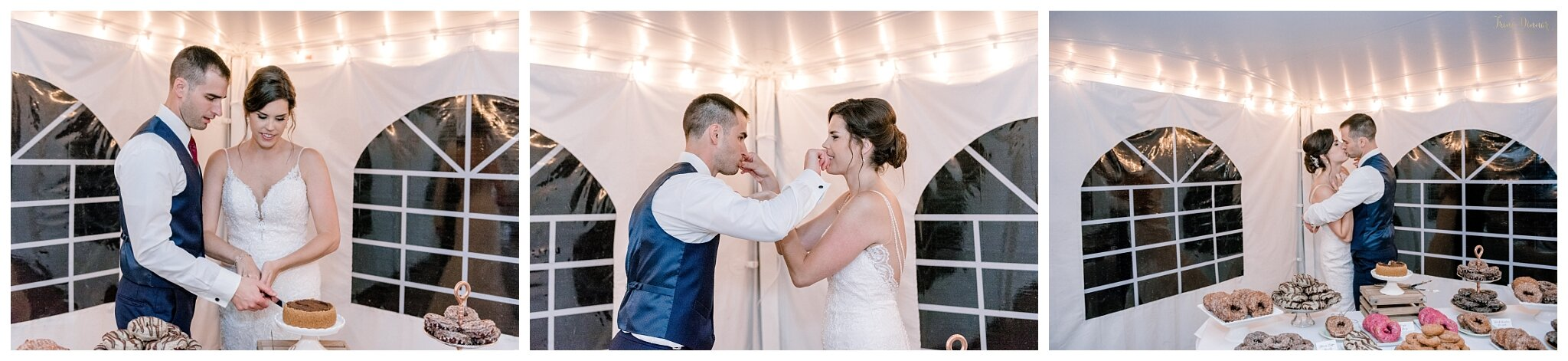 Cake Cutting at Tented Wedding Reception