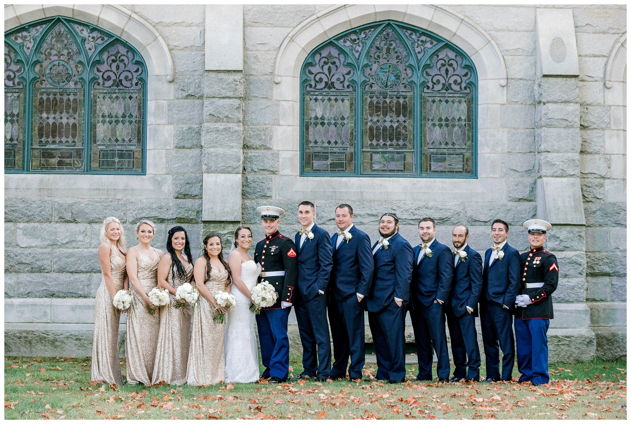 Gold and Navy Marine Wedding Party