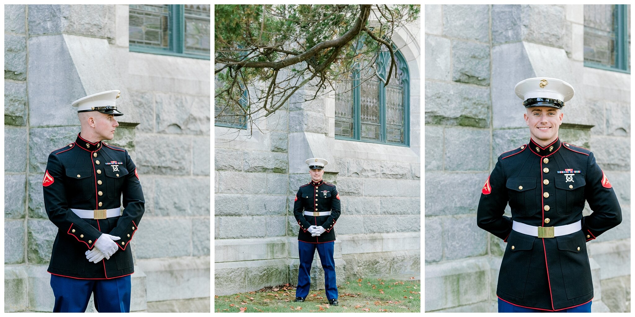 Maine Groom in Military Marine Attire
