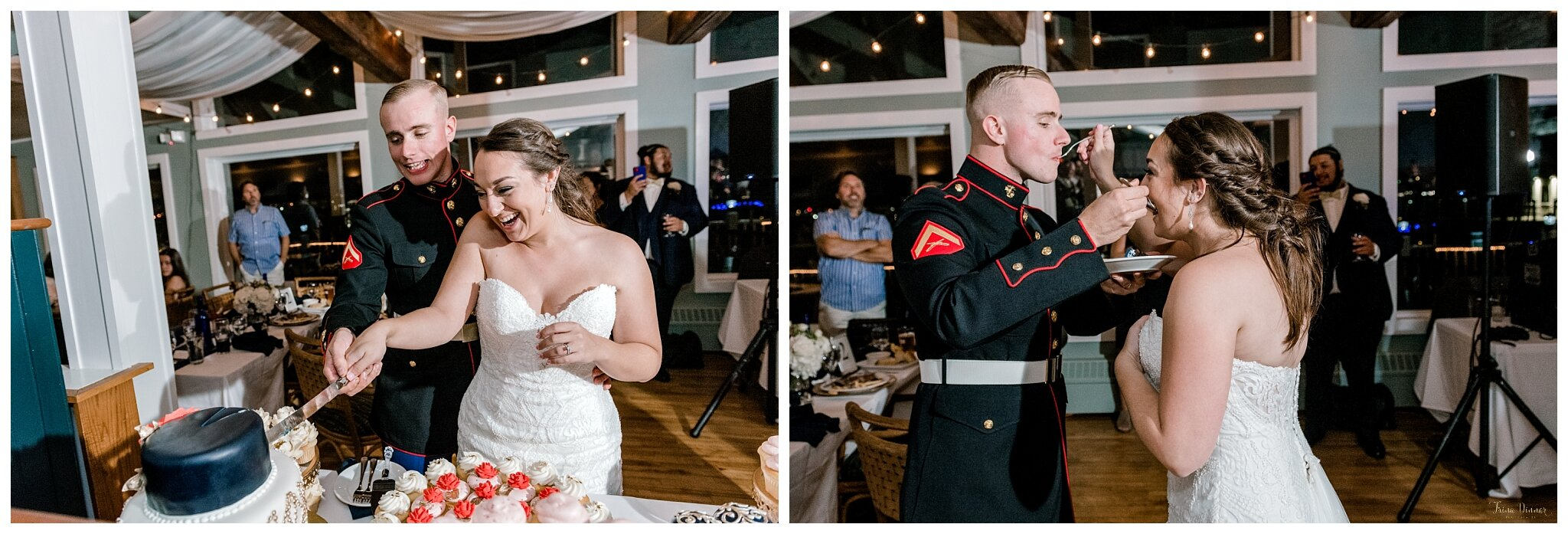 Cake Cutting During Saltwater Grille South Portland, Maine Wedding