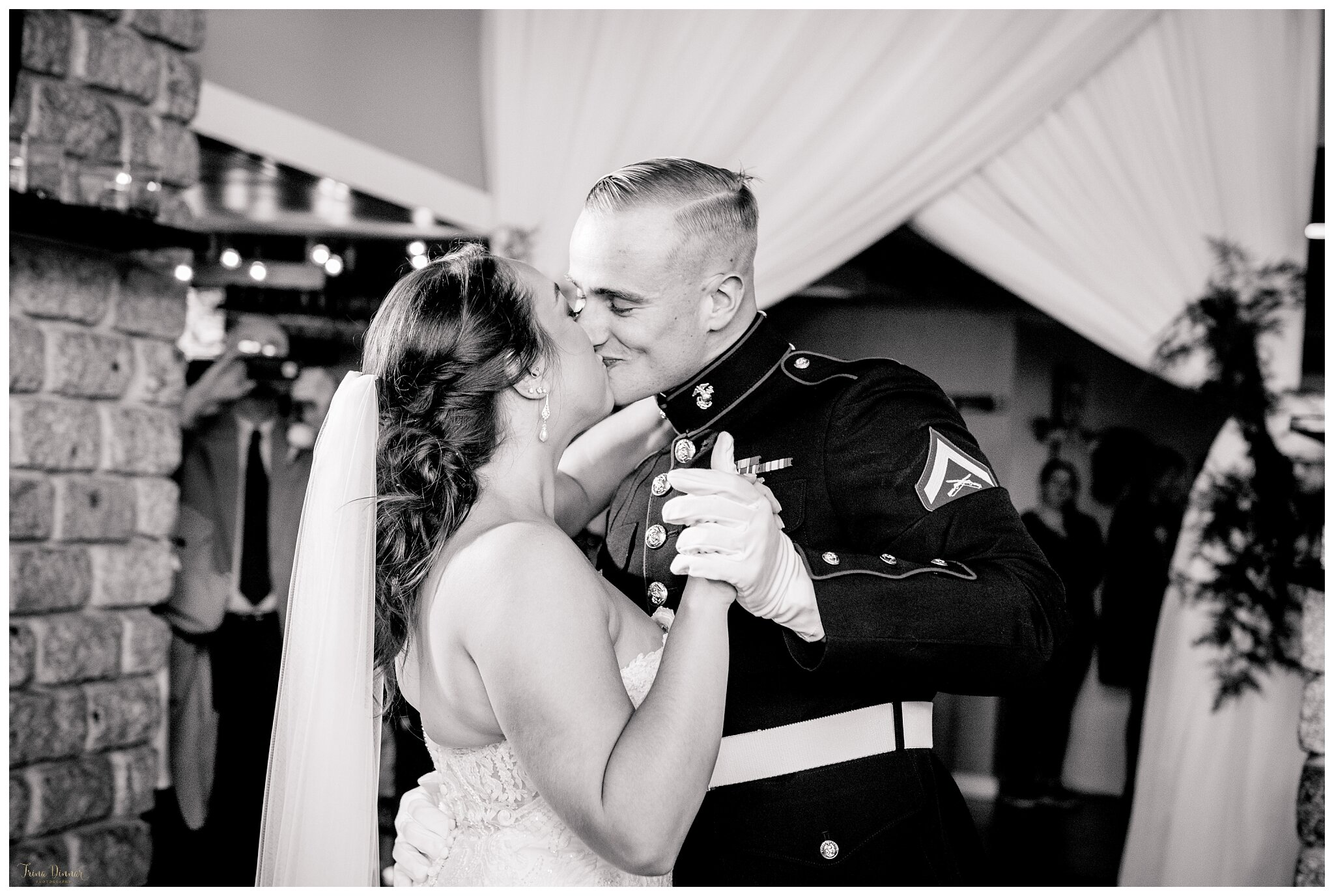 Black and white first dance wedding kiss