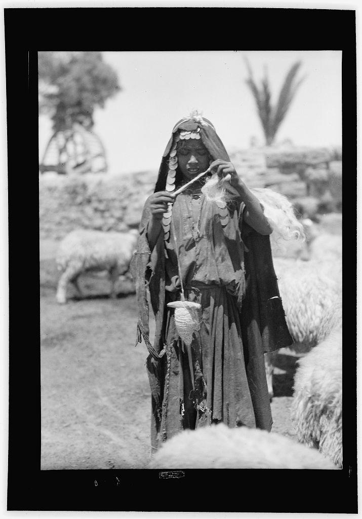 Bedouin shepherdess from Sharon, between 1920-1933, Library of Congress image
