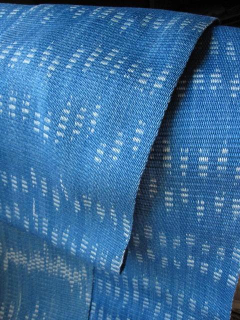 Ikat attempt #1, indigo dyed