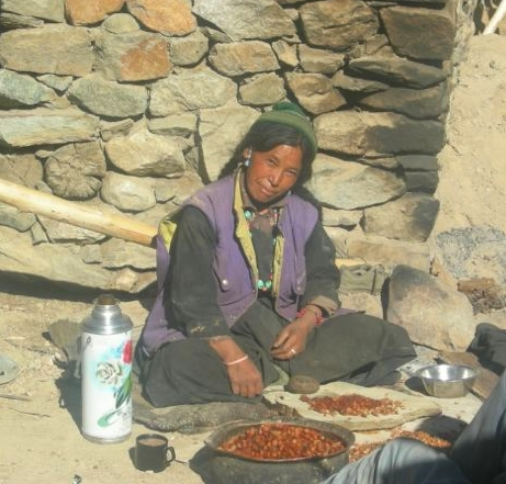Tsewang sits on the roof with a thermos of tea, cracking apricots and saving the nuts in a bowl.