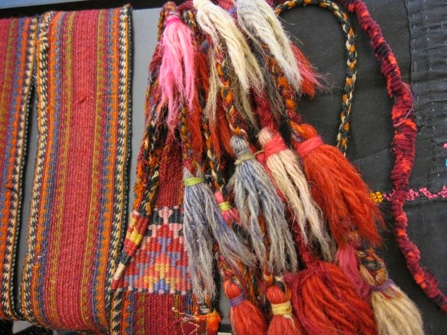 Bedouin belt from Tiraz collection, card woven with twining, braided fringe.