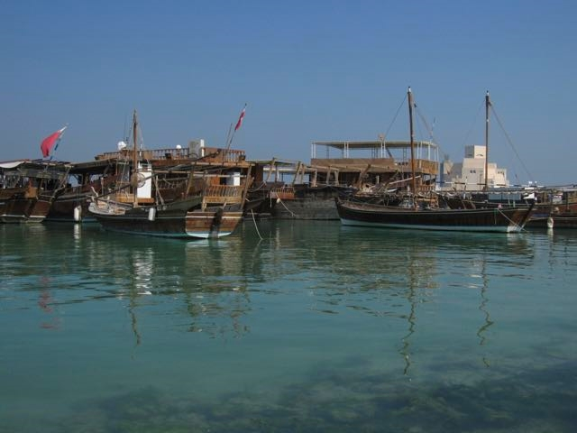 dhows moored in the bay