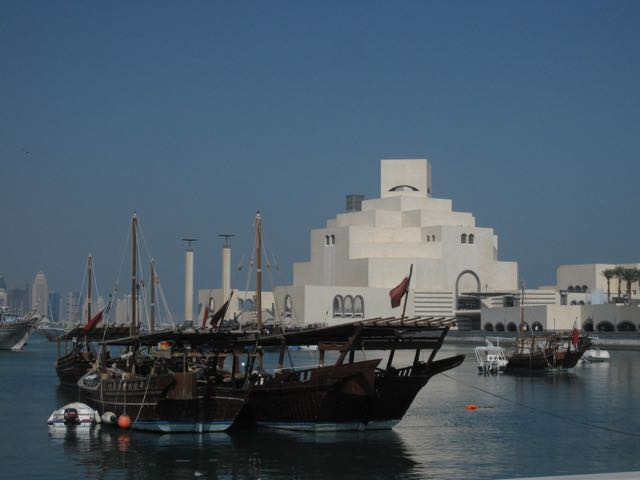 More dhows, with the Museum of Islamic Art in the background, and part of the Doha skyline at left.