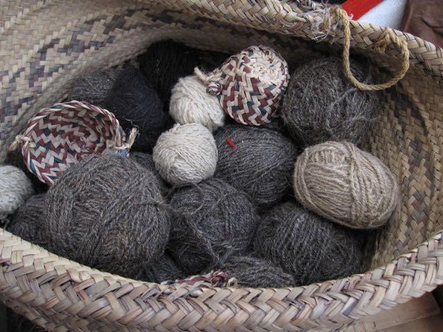 Handspun yarn in a basket in Souq Waqif, Doha, Qatar