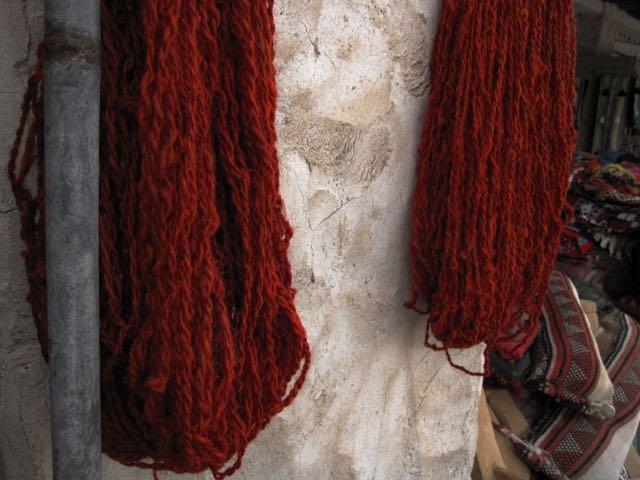 Handspun yarn, spun and dyed in Doha, hanging to dry at Souq Waqif.