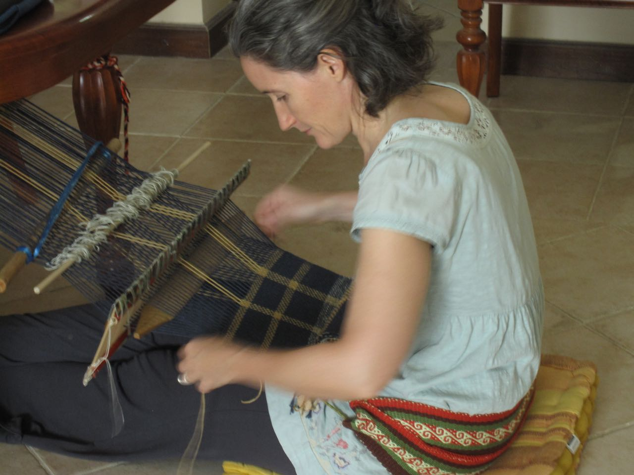 Weaving in Doha with a homemade reed and my typical tie-up.