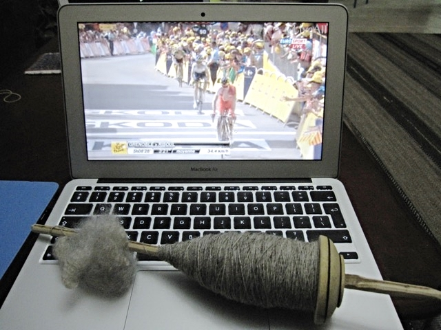 There's Nibali winning a stage. Most of the first spindle was accomplished during the 2014 Tour. With the inspiration of the cyclists, I could get a lot done.