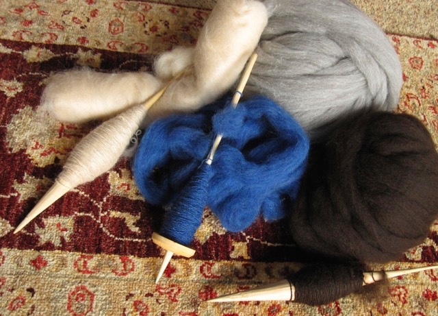 Two Ladakhi phangs and a Peruvian low whorl for these lovely fibers