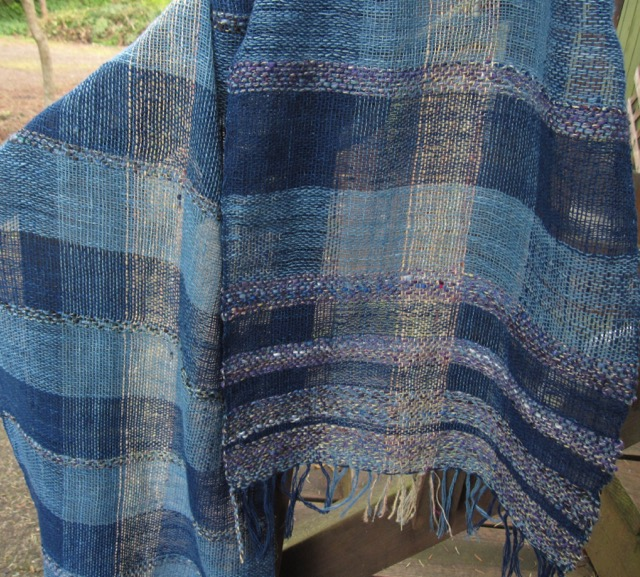 Handwoven from Lao handspun indigo dyed cotton and my own handspun wool