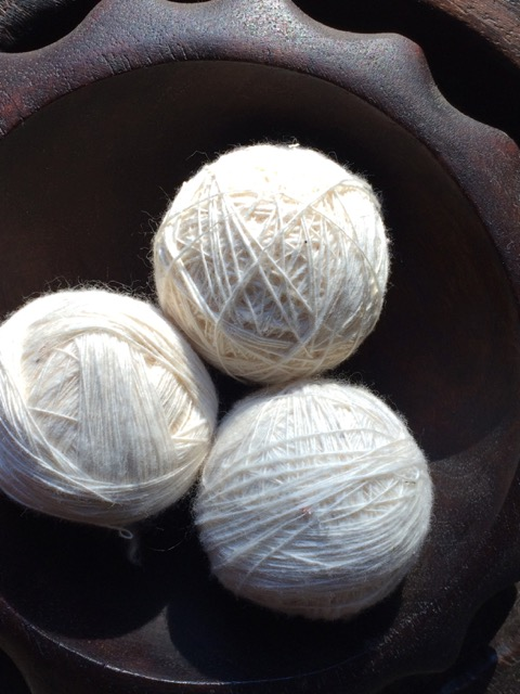 Handspun balls of cotton at my house