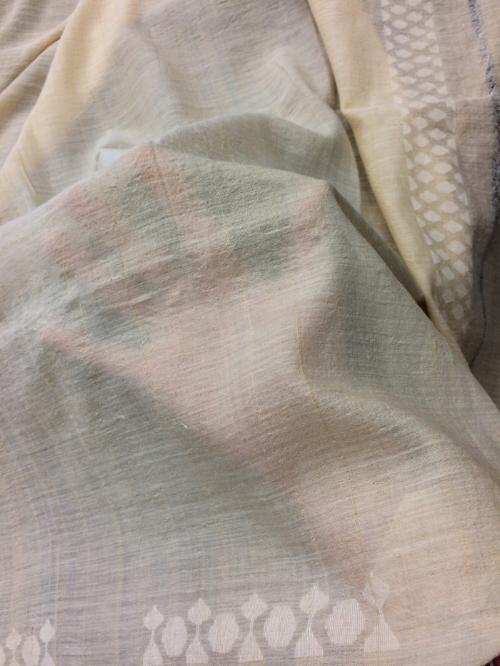 """Handspun jamdani cotton from Bengal. If you wanted to know the meaning of the word """"diaphanous"""", it is this cloth."""