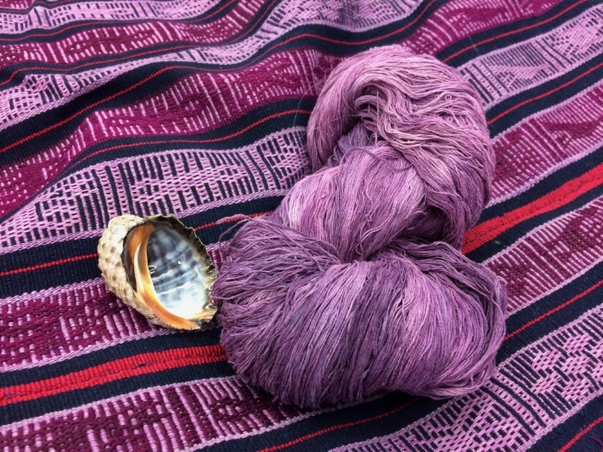 Handwoven cloth from Oaxaca with shellfish-dyed yarn, Maiwa Loft, Vancouver BC.