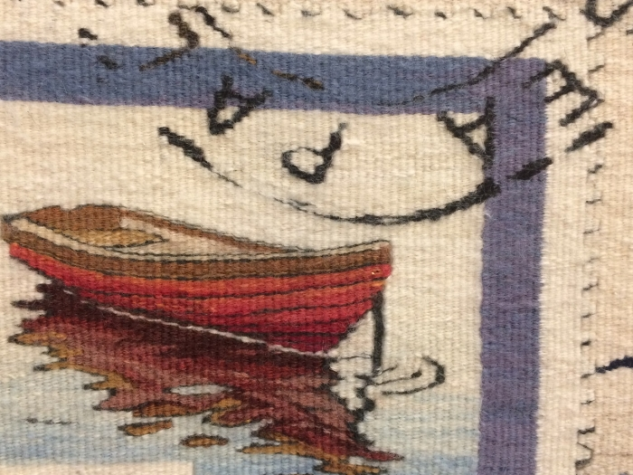 Exquisite detail from Rough Copy #6. It's a postcard, with cancelled stamps. Only four feet tall.