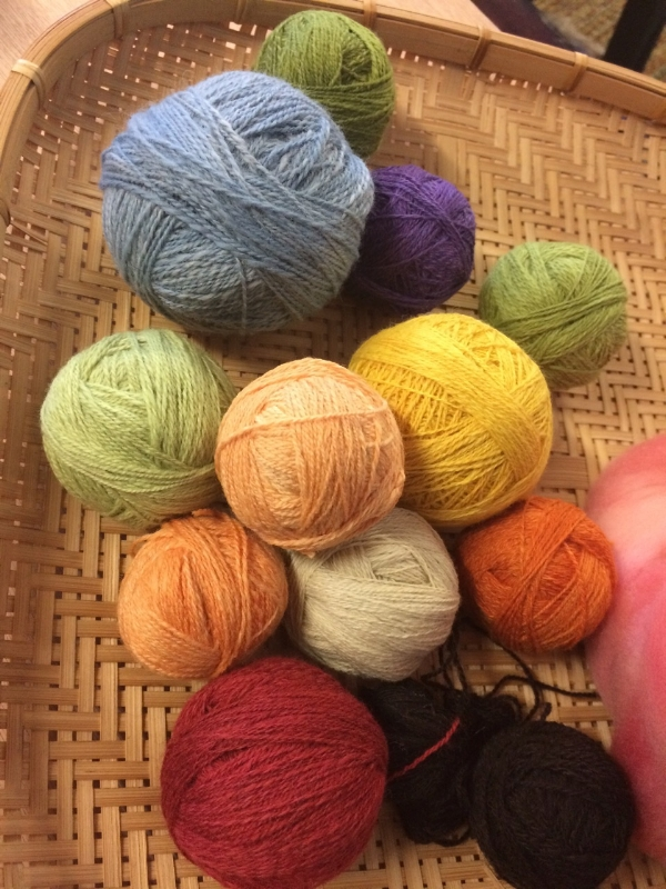My little collection of spindle-spun wool for backstrap weaving