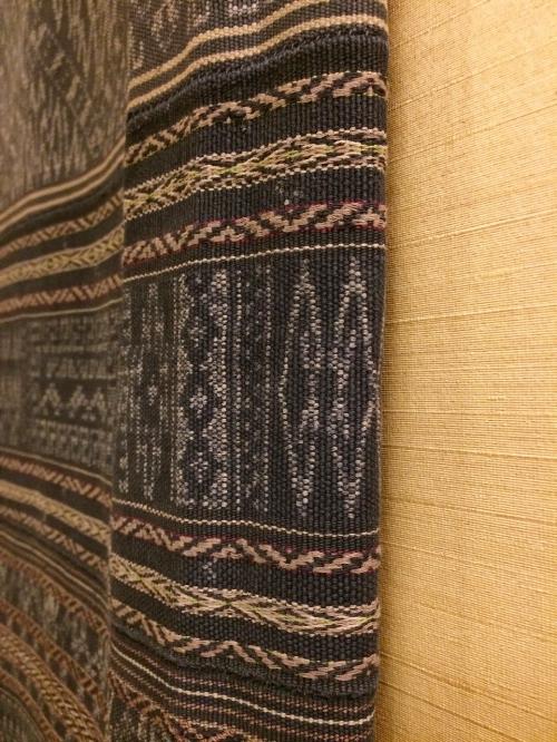 Detail of ikat panel, handwoven sarong from Li people of Hainan, China