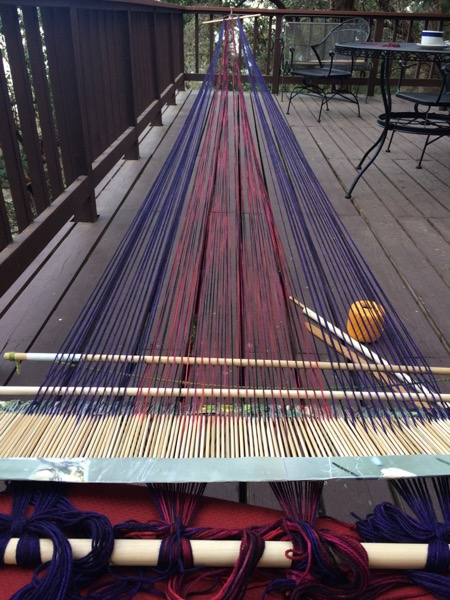 Evidence of backstrap weaving. A ridiculously long warp. Wish me luck.