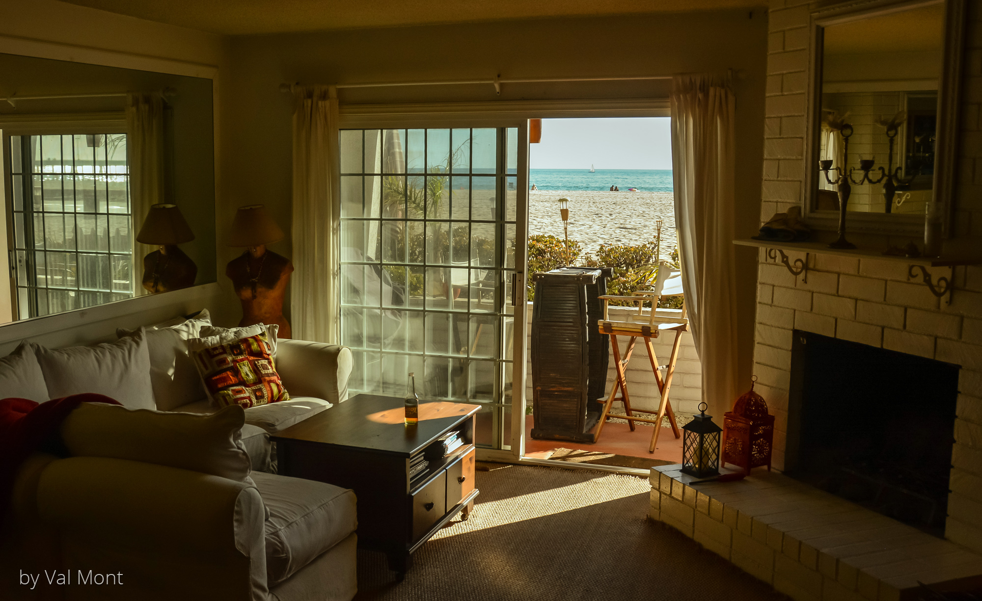 Blick aus dem Appartment in einem der alten zweistöckigen Häuser direkt am Venice Beach/Los Angeles