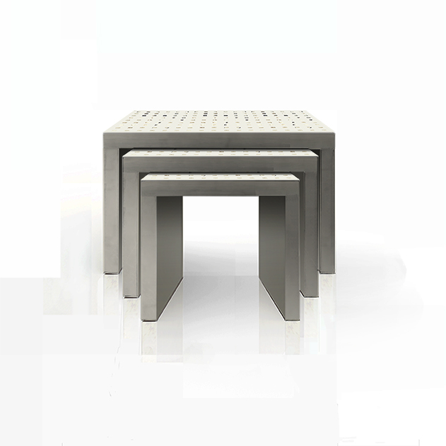 NESTING TABLES IN BOXES IN BLACK WITH PEWTER