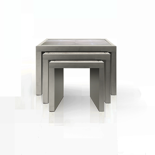 NESTING TABLES IN SHAGREEN IN OYSTER