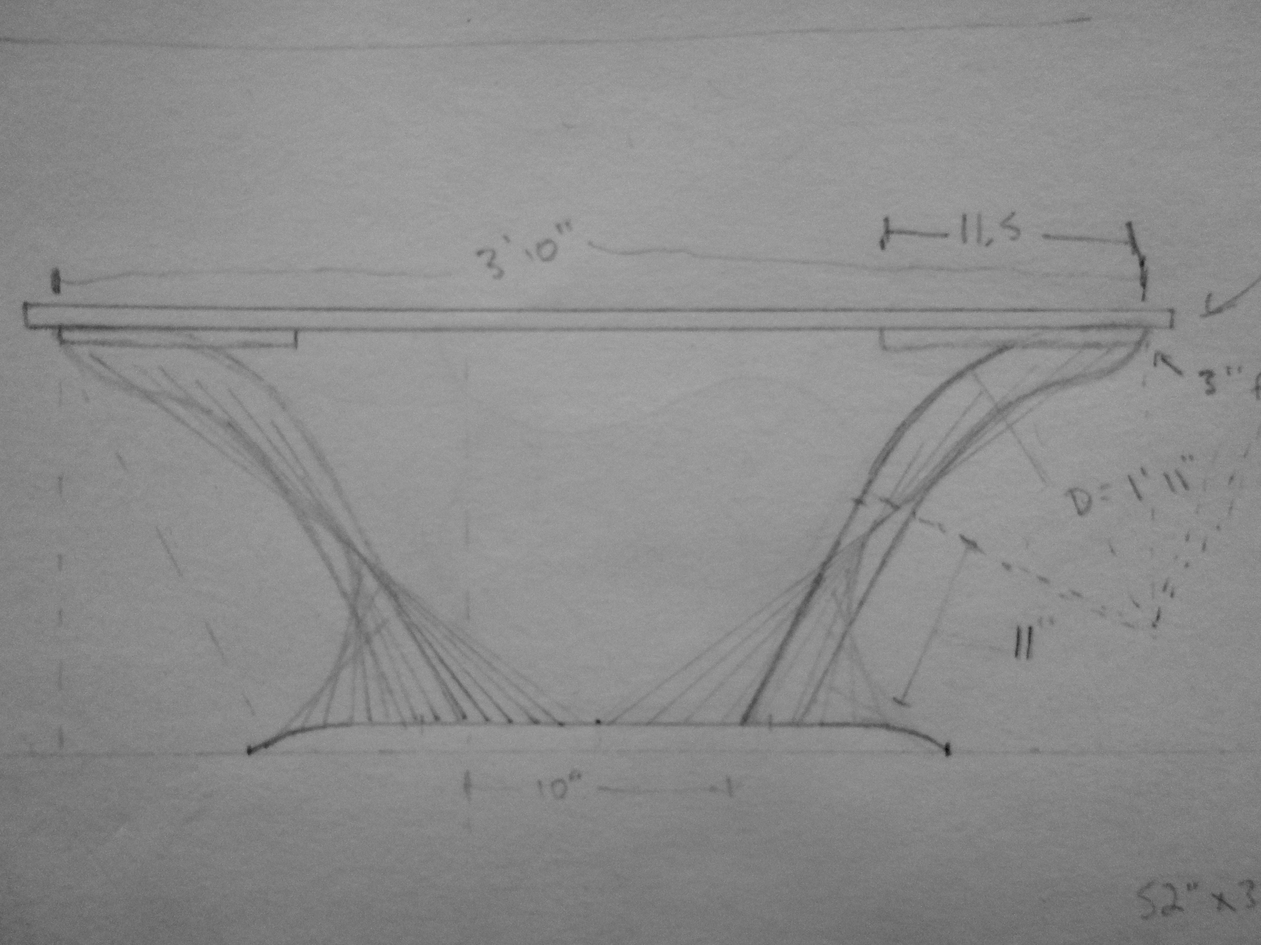 Elevation drawing for Coffee Table