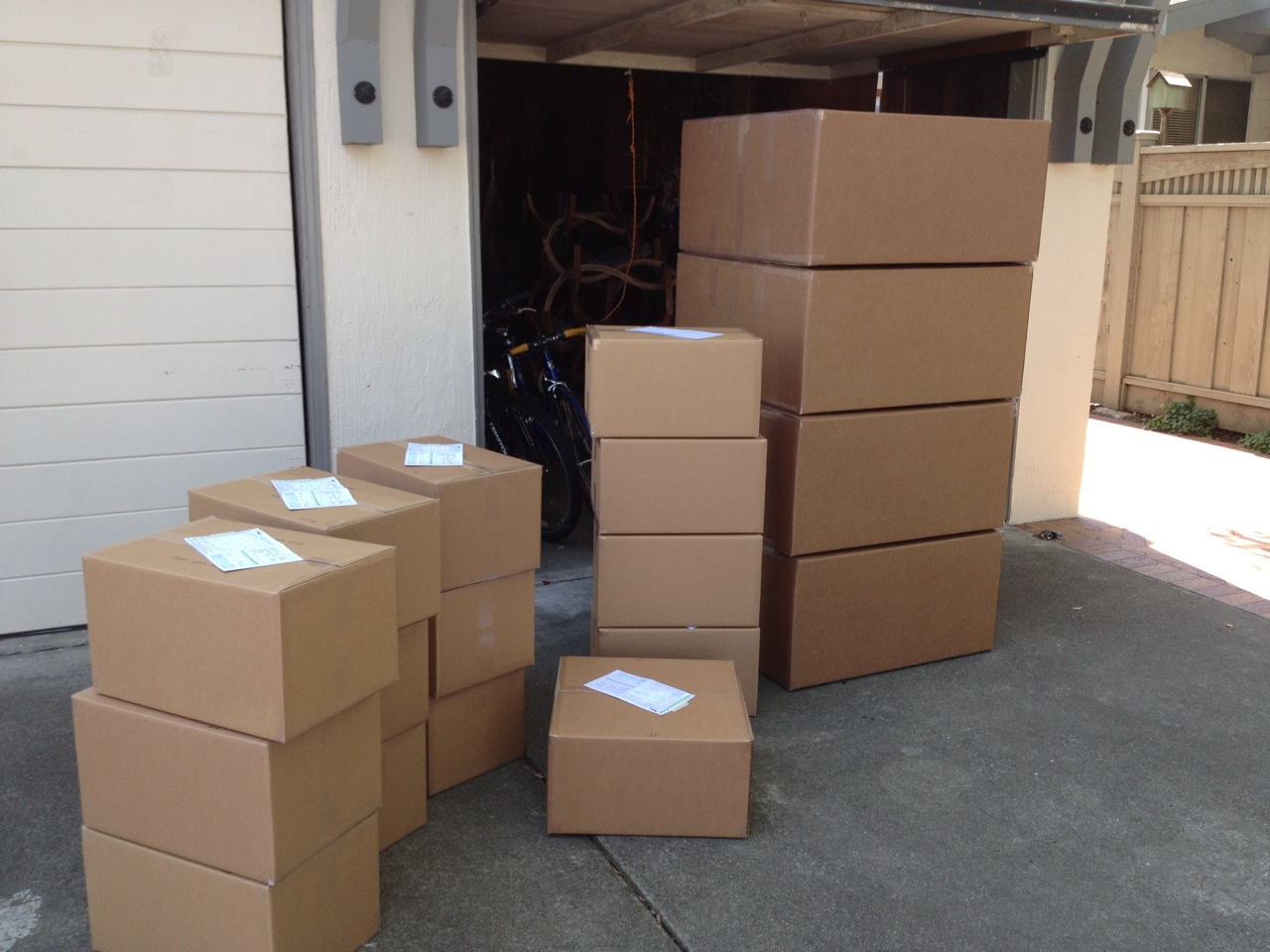 The first batch of boxes I took to FedEx. Seven more trips followed.
