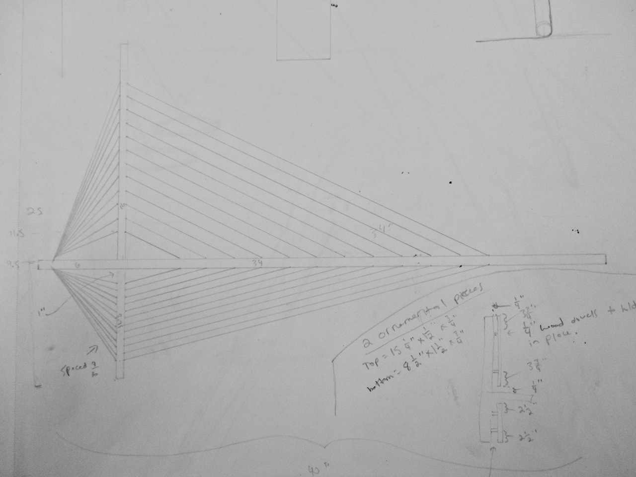 Original sketch for final version of Suspension Shelf
