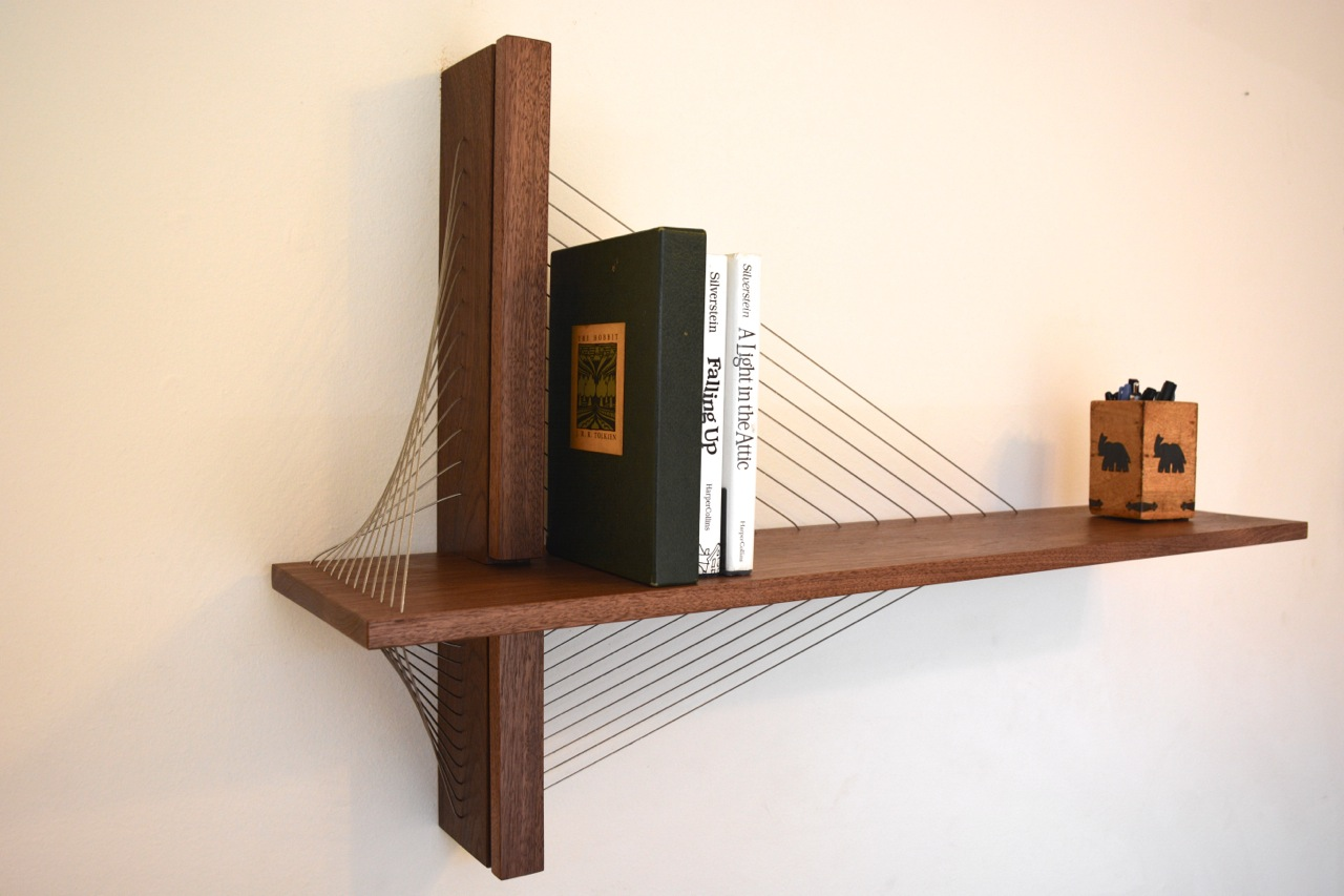 Sculptural walnut shelf by Robby Cuthbert