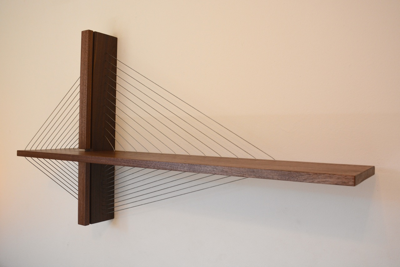 Suspension bridge walnut shelf by Robby Cuthbert